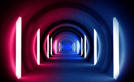 Abstract tunnel, corridor with rays of light and new highlights. Abstract blue background, neon. Scene with rays and lines, Round arch, light in motion, night stock photos
