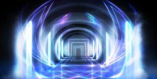 Abstract tunnel, corridor with rays of light and new highlights. Abstract blue background, neon. Scene with rays and lines, Round arch, light in motion, night stock images