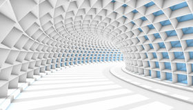Abstract Tunnel 3d Background. White Abstract Tunnel with blue rectangle windows. 3d Render illustration Royalty Free Stock Images