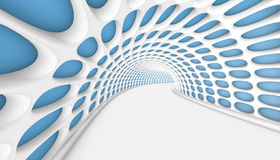 Abstract Tunnel 3d Background. White Abstract Tunnel with rounded blue illuminators. 3d Render illustration Royalty Free Stock Photos