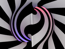 Abstract tunnel, 3D. Abstract tunnel of black and white lines, 3D Royalty Free Stock Photography