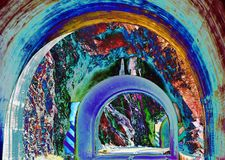 Abstract Tunnel 43, digital art by Afonso Farias. Abstract Tunnel 43, illustration effect, digital art by Afonso Farias stock illustration