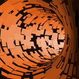 Abstract Tunnel. Futuristic Style. 3D Abstract Surface. Turning Tube Tunnel. Perspective Background. Data visualisation Stock Photos