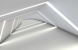 Abstract tunnel with gaps, with a reflective floor and ceiling. 3D illustration Stock Photos