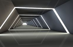 Abstract tunnel with gaps, with a reflective floor and ceiling. 3D illustration Stock Photo