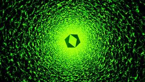Abstract tunnel in green with flying multifaceted piece stock video footage