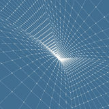 Abstract tunnel grid. 3d vector illustration. Can be used as digital dynamic wallpaper, technology background Stock Image
