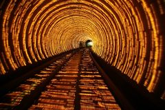 Abstract tunnel lights. Under river in Shanghai Stock Photography