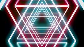 Abstract tunnel of neon triangles, moving David stars on black background, seamless loop. Animation. Glowing red and stock footage