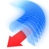 Abstract tunnel with red arrow. 3D render of blue abstract tunnel with red arrow pointing out Stock Photography