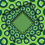 Abstract turned frames with a rotating green rings pattern. Optical illusion background.  stock illustration