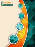 Abstract turquoise brochure with orange transparent stripe Royalty Free Stock Photos
