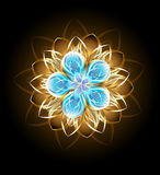 Abstract turquoise flower. Decorated with golden petals on a black background vector illustration