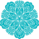Abstract  turquoise round lace design in mono line style - Royalty Free Stock Photo