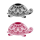 Abstract Turtle. Carved turtle. Stylized fantasy patterned turtle. Hand drawn vector illustration with traditional oriental floral elements Royalty Free Stock Photography
