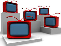 Abstract tv background. Abstract 3d illustration of cartoon tv group over white Stock Image