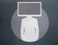 TV headed businessman silhouette royalty free illustration