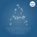 Abstract Twinkle Alphabet and Digit Vector Royalty Free Stock Photos