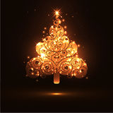 Abstract Twinkling and Glowing Fir Tree on Dark Brown Background Banner Template Royalty Free Stock Photo