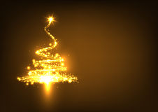 Abstract Twinkling and Golden Glowing Fir Tree on Dark Brown Stock Photo