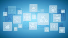 Abstract twinkling icons, communication tech design video animation stock video