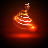 Abstract Twinkling and Neon Red Glowing Fir Tree on Dark Stock Photo