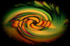 Abstract twirl of color in black Stock Image