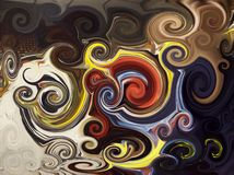 Abstract twirls background. Abstract background painting of colored spirals Stock Images