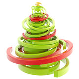 Abstract twirly glossy christmas tree isolated Stock Photography