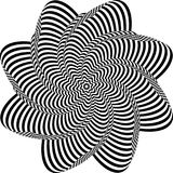 Abstract twisted black and white background. Optical illusion of distorted surface. Twisted stripes. Radial pattern. Abstract twisted black and white background Royalty Free Illustration