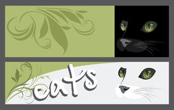 Abstract two banners with muzzle of cats Royalty Free Stock Photography