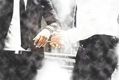 Abstract Join hands business concept and handshake concept on watercolor painting. Abstract two business man talking business company on the street city on stock illustration