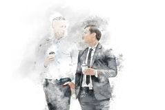 Abstract Two business man talking business partner and offices building background on watercolor painting stock image