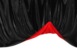 Abstract two-color silk in the wind. Abstract red and black background, image isolated stock illustration