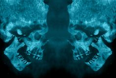 Abstract Two Evil Powerful Fiery Demon Skulls Facing Each Other stock illustration