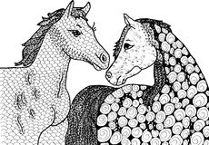 Abstract two horses. Vector two horses on black and white . Hand drawn live traced illustration royalty free illustration