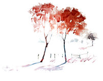 Abstract two love trees Stock Photos
