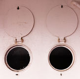 Bulleye portholes open round shutters abstract Royalty Free Stock Photography