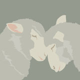 Abstract two sheep in love each other; vector animals cartoon illustration; art decor Royalty Free Stock Photo