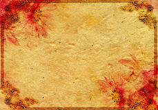 Abstract uitstekend document met rode bloem Stock Afbeeldingen