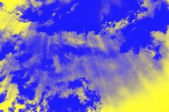Abstract ultra modern sky background with sun rays. Yellow and ultramarine blue colors. Abstract ultra modern sky background with sun rays. Yellow lemon color royalty free stock image