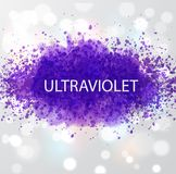 Abstract ultraviolet purple grunge splashes. Color of the year 2018. Royalty Free Stock Photography