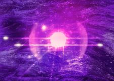 Ultraviolet space background with satellite Royalty Free Stock Photo
