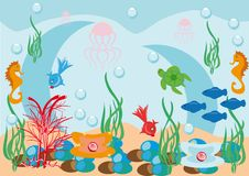 Abstract underwater background. With small fishes Royalty Free Stock Photo