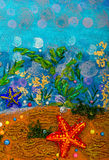 Abstract underwater seascape. Underwater seascape - abstract drawing background Stock Photography