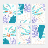 Abstract underwater seaweed dotted. Hand drawn creative invitation or greeting cards template. Anniversary, Birthday, wedding, party, social media banners set royalty free illustration