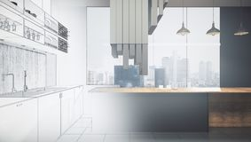 Engineering and blueprint concept. Abstract unfinished kitchen interior drawing. Engineering and blueprint concept. 3D Rendering Royalty Free Stock Images