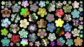 Luxurious set of beautiful colorful flowers for your design. Abstract unique illustration and decoration. Oil paint effect. Many flowers different colors on a stock illustration