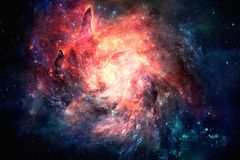 Abstract Unique Multicolored Glowing Nebula Spiral Galaxy Artwork Background. Abstract unique Incredibly beautiful spiral galaxy artwork as a unique artistic stock photography