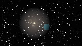 Abstract universe and the planet. A planet in a cluster of stars Stock Photography